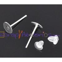 Lote pendiente palillo plata claro 6x12 mm (500 uds) + traseras