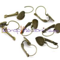 Pendiente gancho bronce 24x11 mm corazon 10x10 mm- 2 pares)