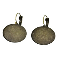 Pendiente bronce 33x21mm, int camafeo 20 mm ( 1 par