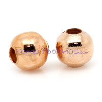 Bola metalica color oro rosa 4 mm ( taladro 1 mm) (50 uds)