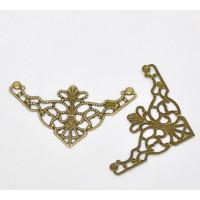 Embellecedor esquinas bronce labrado 4.8x2.6 cm- 4 uds
