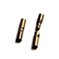 Cierre metal tubo encaje  oro viejo 23x 5 mm, taladro 3,8 mm