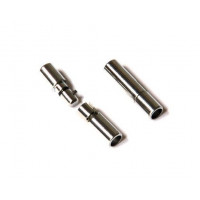 Cierre metal tubo encaje plateado 23x 5 mm, taladro 3,8 mm