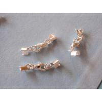 Cierre broche mosqueton terminales plateado ( terminal 4x8mm- mosqueton 10 mm) - 4 sets