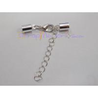 Cierre broche collar plateado (terminal con taladro 5 mm)
