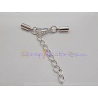 Cierre broche mosqueton y terminales plateado (terminal con taladro 3 mm) - 2 sets