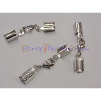 Cierre broche mosqueton y termianales niquel plateado para cordon 4 mm - 3 sets