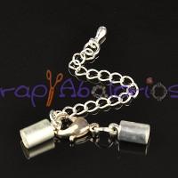 Cierre broche mosqueton mas terminales plateado (taladro 4,5 mm) -  3 sets