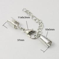 Cierre broche collar plateado ( terminal con taladro 4 mm )