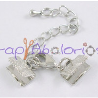 Cierre broche  grapa abierta collar niquel + cadena Tira 10 mm - 2 sets