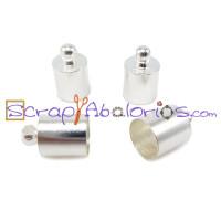 Terminal plateado tubo bolita 12x7 mm, taladro 6mm ( 4 uds)