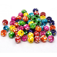 Bola de madera pintada colores puntitos 10x9 mm - 20 uds