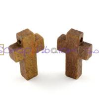Colgante madera Cruz 22x14x4 mm Color claro (10 uds)