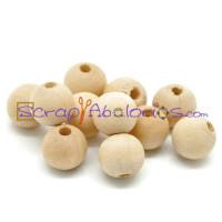 Bolita madera natural 10x9 mm - 20 uds