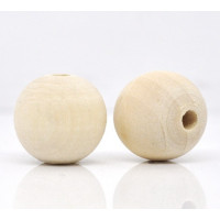 Bola de madera natural 17-18 mm ( 2 uds)