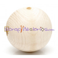 Bola de madera natural 30 mm, taladro 4 mm - 20 uds