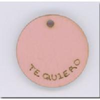 Colgante madera grabado rosa 24 mm- Te quiero