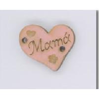 Entrepieza corazón madera MAMA 18x16  mm-Rosa