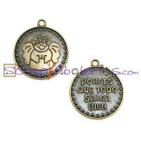 Colgante medalla bronce 27 mm PORFIS QUE SALGA TODO BIEN