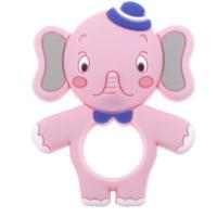 Figura silicona 71x88 mm- Mordedor Elefantito Cuki- Rosa bebe