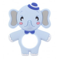 Figura silicona 71x88 mm- Mordedor Elefantito Cuki- Azul bebe