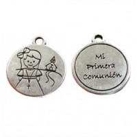Medalla Zamak baño de plata Comunión Niña 22 mm