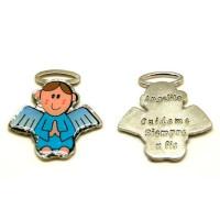 Colgante medalla angel azul 43x42 mm  Angelito cuidame siempre