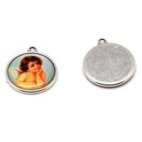 Medalla esmalte y zamak Angelote pensativo 22 mm