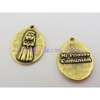 Medalla Zamak Bronce niña Mi primera comunión 18x14 mm