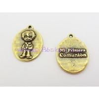 Medalla Zamak Bronce niño Mi primera comunión 18x14 mm