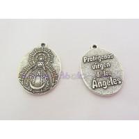 Medalla zamak  baño plata Virgen de los angeles protege 27x20 mm