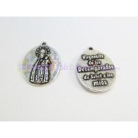 Medalla zamak baño plata Virgen de los desamparados Salud 24 mm