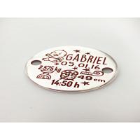 Natalicio zamak baño plata entrepieza 25 mm personalizado (ze1076)