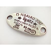 Natalicio Zamak baño plata placa oval   personalizado (ZE779)