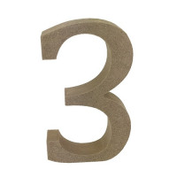 Numero en DM- Altura aprox 12 cm- Grosor 2 cm- Numero 3