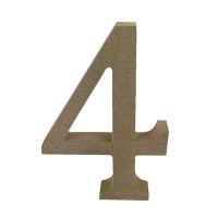 Numero en DM- Altura aprox 12 cm- Grosor 2 cm- Numero 4
