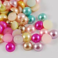 Medias perlas 14  mm base plana ( pegar) mix colores ( 10 uds)