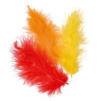Plumas de marabu 9 cm - Bolsita 15 plumas - Naranja-rojo-amarill