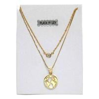 Collares plata de ley baño de oro- mapamundi y circonita