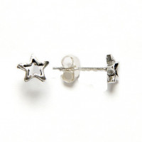 Pendiente plata de ley estrella mini 6 mm  ( 1 par)