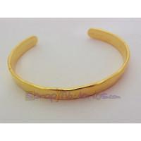 Pulsera Zamak baño dorado brazalete rustico caña 60x7 mm
