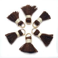 Mini-Pompon borla hilo algodon marron hilo beige 15 mm