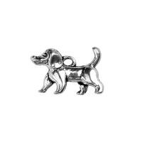 Colgante charm plateado perrito 3D tamaño 15x14mm