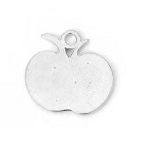 Colgante charm plateado manzana 18x17 mm, taladro 2 mm