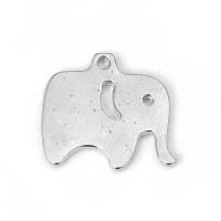 Colgante charm plateado elefante 17x15 mm, taladro 1.4 mm