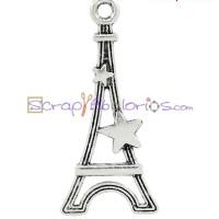 Colgante charm plateado torre Eiffel estrellas paris 29x13 mm