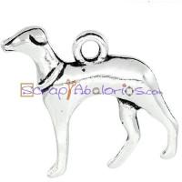Colgante charm plateado perro Galgo 20x19 mm