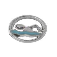 Colgante charm plateado circulo pequeño nadador 8 mm