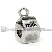 Colgante charm plata tibetana tetrabrik leche MILK .15x11 mm