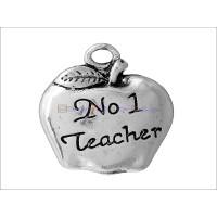 Colgante plata tibetana manzana nº1 teacher (profe) 18x14 mm
